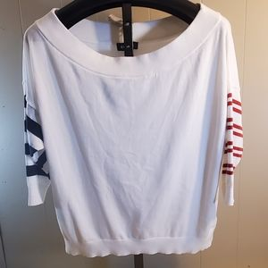 EXPRESS Off the Shoulder White Cotton Sweater